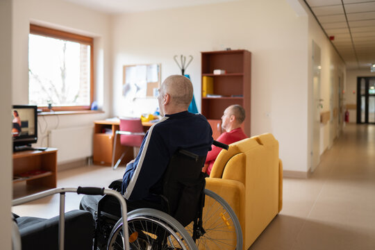Patients Watching Tv At Nursing Home