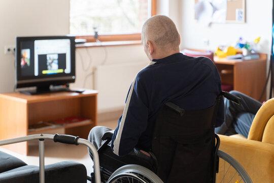 Patient Watching Tv At Nursing Home