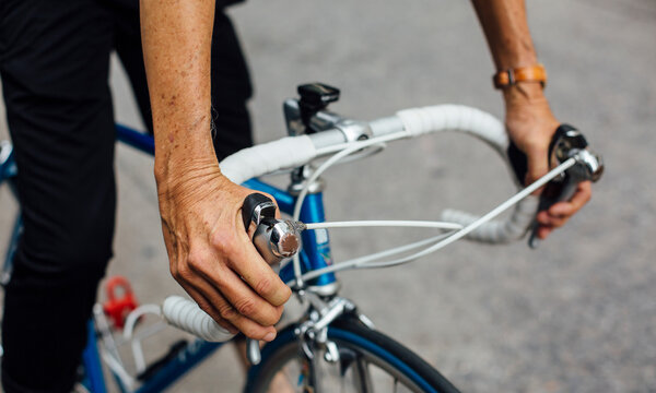 Senior asian man with road bicycle