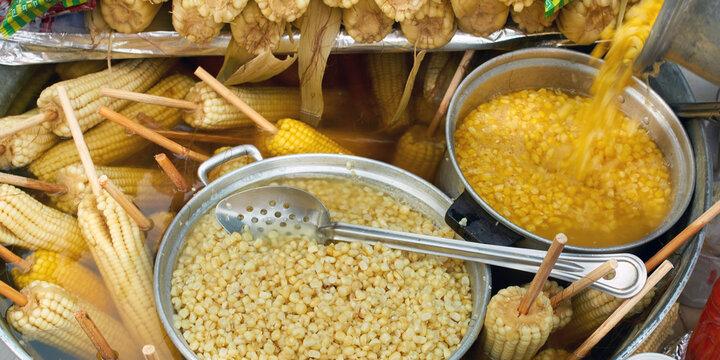 Corn: Mexican street food corn cob elote