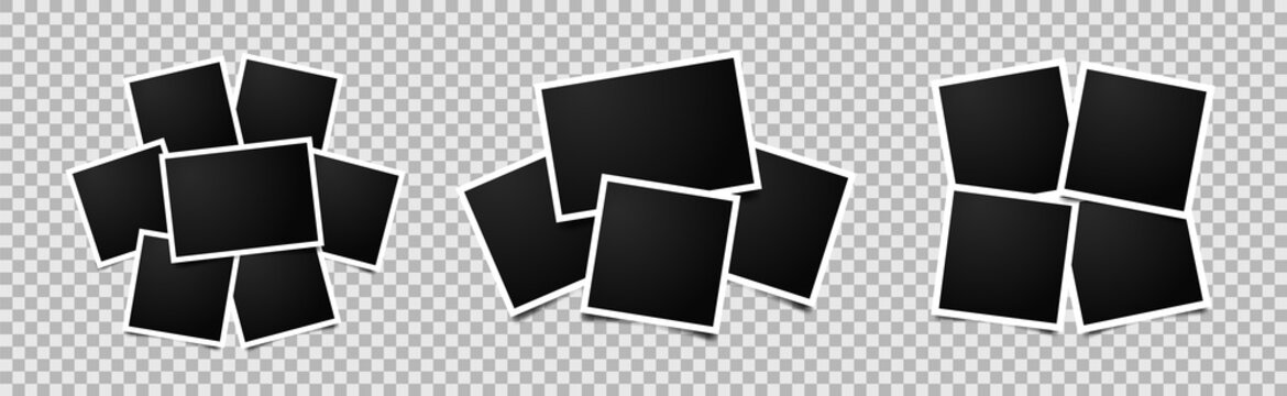 Set of empty photo frames compositions. Realistic vector mockups. Retro photo frames with shadow isolated on transparent background.