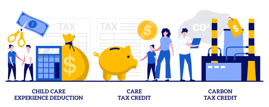 Child care experience deduction, care tax credit, carbon tax credit concept with tiny people. Tax deduction, exemption and credit abstract vector illustration set. Income subsidies metaphor