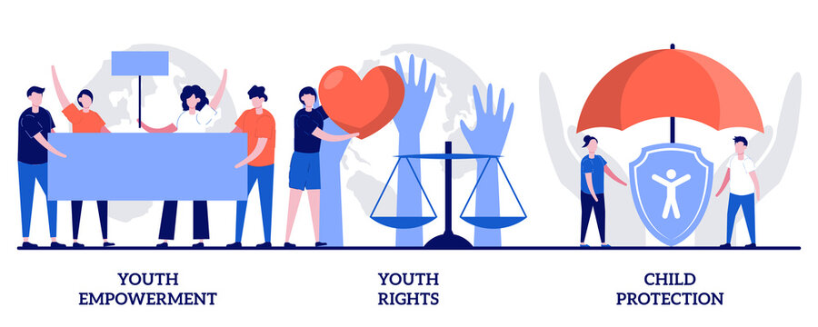 Youth empowerment and rights, child protection concept with tiny people. Young people rights protection vector illustration set. Take action, improve life quality, involvement, voting age metaphor