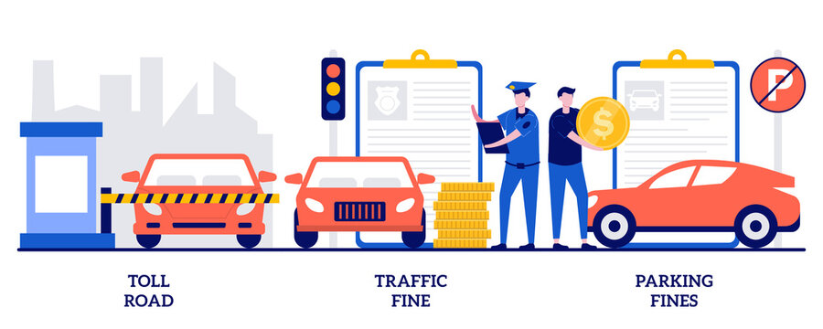 Toll road, traffic and parking fine concept with tiny people. Driving rules violation vector illustration set. Tollway fee, speeding ticket, no parking zone, penalty notice, pass card metaphor