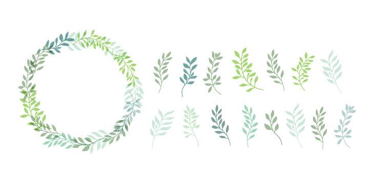 手描きタッチのシンプル草木リース型フレーム Set hand drawn white isolated background. Botanical illustration. Decorative Botanical picture.