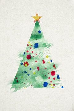 Abstract green Christmas tree painting