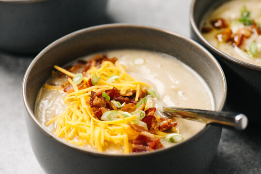 Loaded Cauliflower Soup with bacon and cheddar