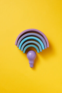 Violet light bulb and curves in wi fi sign
