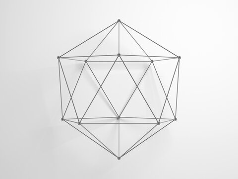 Regular icosahedron. Lattice wire-frame 3d shape