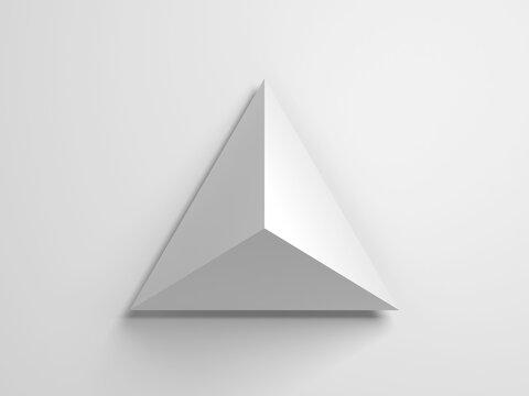 Regular tetrahedron. Abstract white geometric 3d
