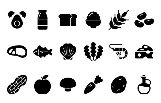 Various kinds of food Nutrients Icon 色々な種類の食品 栄養素のアイコン