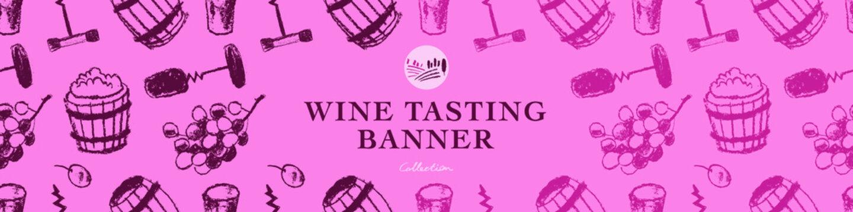 Wine tasting banner. Vector pattern with winemaking illustration set. Hand-drawn background for winery, wine shop, viticulture wallpaper, banner biodynamic wines. Bottle-screw, barrel, grape, stopper.
