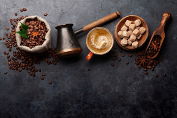 Coffee beans, Turkish jezve, coffee cup and sugar