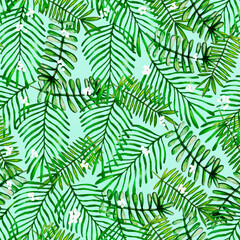 Watercolor hand drawn different leaves pattern, palm leaves pattern, natural background