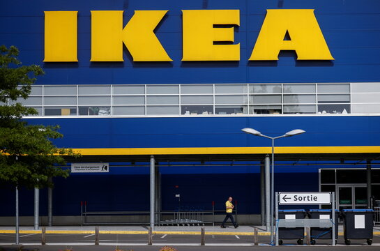 The company's logo is seen outside an IKEA Group store in Pace near Rennes