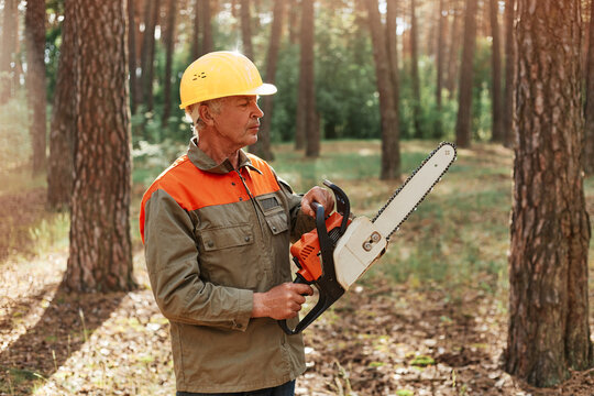 Mature man woodcutter wearing uniform and helmet with chainsaw is going to cuttrees, posing in forest with special equipment for deforestation, professional logging.