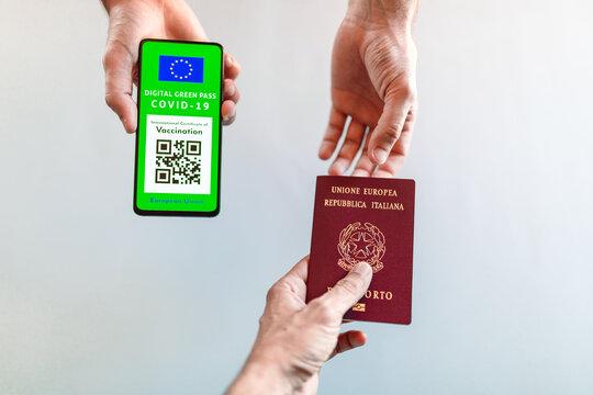 International certificate of vaccination. European Green Pass