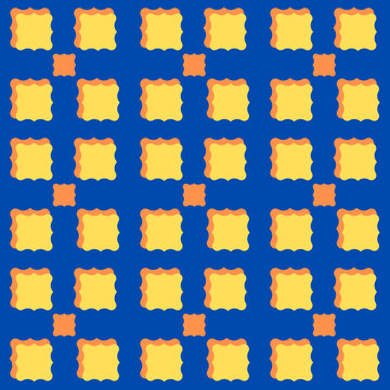 Pattern with a blue background and yellow shapes.