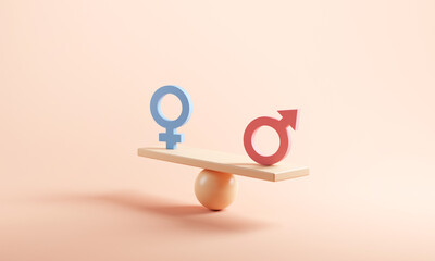 Fototapeta Gender equality concept. Male and female symbol on the scales with balance on blue background. minimal style, 3d render. obraz