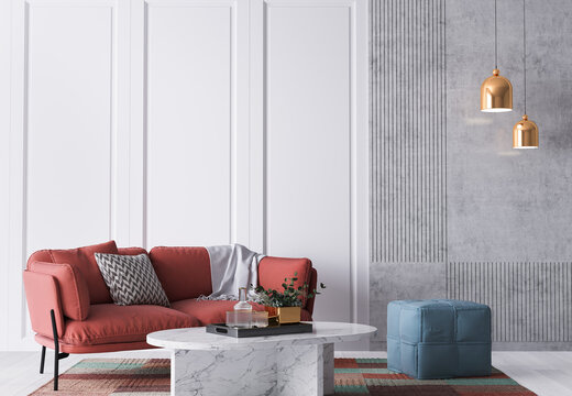 Bright colorful  home interior, red sofa on white wall mockup, 3d render