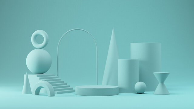 Abstract shapes and display blocks in colorful set