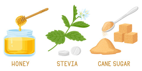 Cartoon natural sweeteners. Honey, stevia pills and plants, brown cane sugar cubes isolated vector illustration set. Natural organic sweeteners