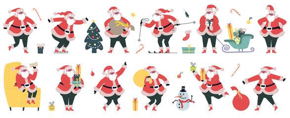 Cute Santa Claus. Christmas winter holidays characters, cheerful Santa with gifts vector illustration set. Funny Christmas mascot