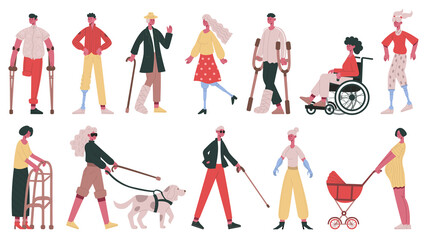Disabled people. Handicapped, blind, deaf characters, people in wheelchair, with prosthetic arms and legs vector illustration set. Adult disabled characters