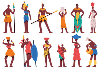 African people. Male and female characters in traditional tribal clothes isolated cartoon vector illustration set. African black people