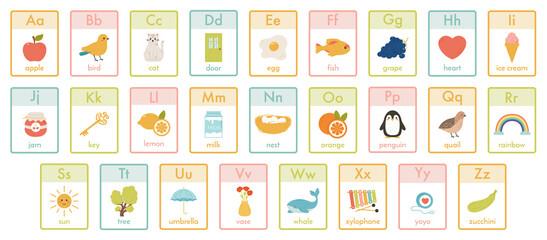 Alphabet kids cards. Kindergarten abc learning, children education animals, fruits and toys cards vector illustration set. Cute alphabet for children