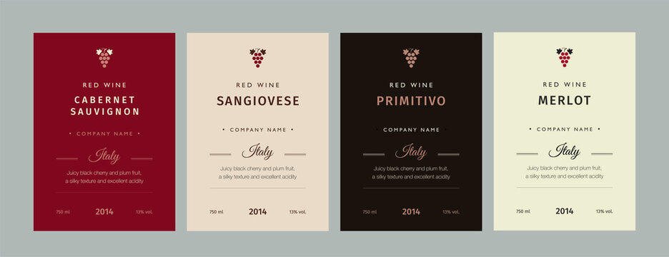 Red and white wine label. Special collection best quality grape varieties and premium wine brand names labels emblems abstract isolated vector illustration.