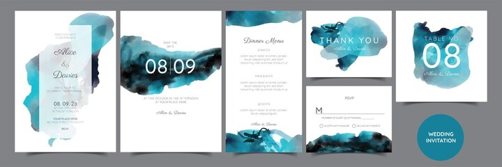 Fototapeta Set of Wedding Invitation, floral invite, thank you, rsvp rustic card design with gold foil decoration. Vector elegant modern template, trendy cover, graphic poster, retro brochure, design template obraz