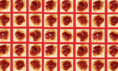 Soda Crackers with Peanut Butter and Jam