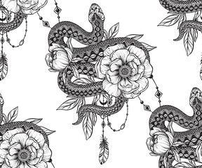 Vector beautiful seamless pattern. Romantic elegant endless background with hand drawn totem snake