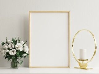 Interior poster mockup with vertical wooden frame in home interior background with vase.