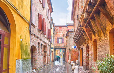 The medieval streets in Ferrara, Italy