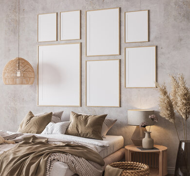 Wooden bedroom design with gallery wall frame mockup in loft apartment interior, 3d render