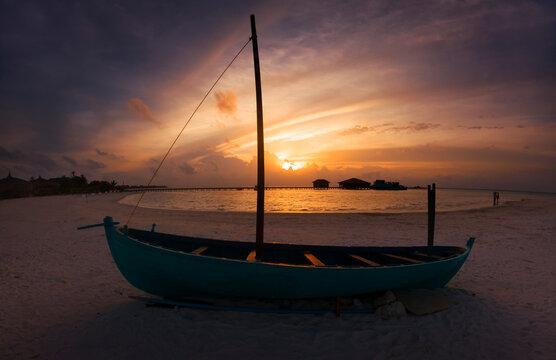Atoll in Maldives in holiday season