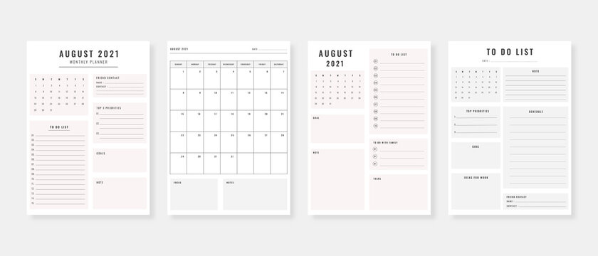 August 2021 - Planner. Modern planner template set. Set of planner and to do list. Monthly, weekly, daily planner template. Vector illustration.