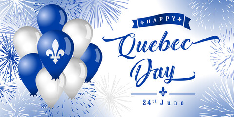 Obraz Happy Quebec Day creative greetings. Isolated abstract graphic design template. Quebec's National Holiday congrats concept. St. Jean-Baptiste Day. 3D decorative elements and country vintage typescript - fototapety do salonu