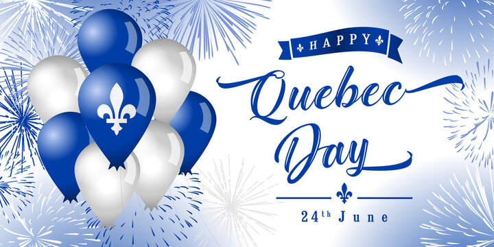 Happy Quebec Day creative greetings. Isolated abstract graphic design template. Quebec's National Holiday congrats concept. St. Jean-Baptiste Day. 3D decorative elements and country vintage typescript