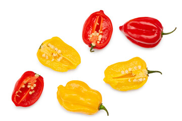 yellow and red habanero chili hot peppers isolated on white background. clipping path