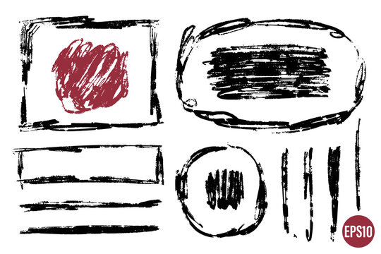 Hand drawn grunge frames and shapes. Paint strokes as graphic resources. Set of ink brush painted backdrops for designs.
