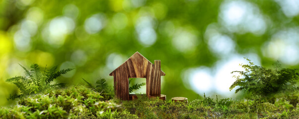 Eco friendly home. House model and coins on green grass outdoors, banner design