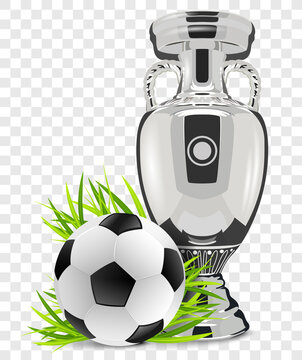 Soccer ball with soccer cup trophy isolated on transparent background vector illustration