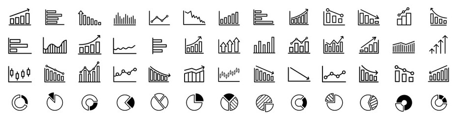 Obraz Growing bar graph icon set. Business graphs and charts icons. Statistics and analytics vector icon. Statistic and data, charts diagrams, money, down or up arrow. Vector illustration. - fototapety do salonu
