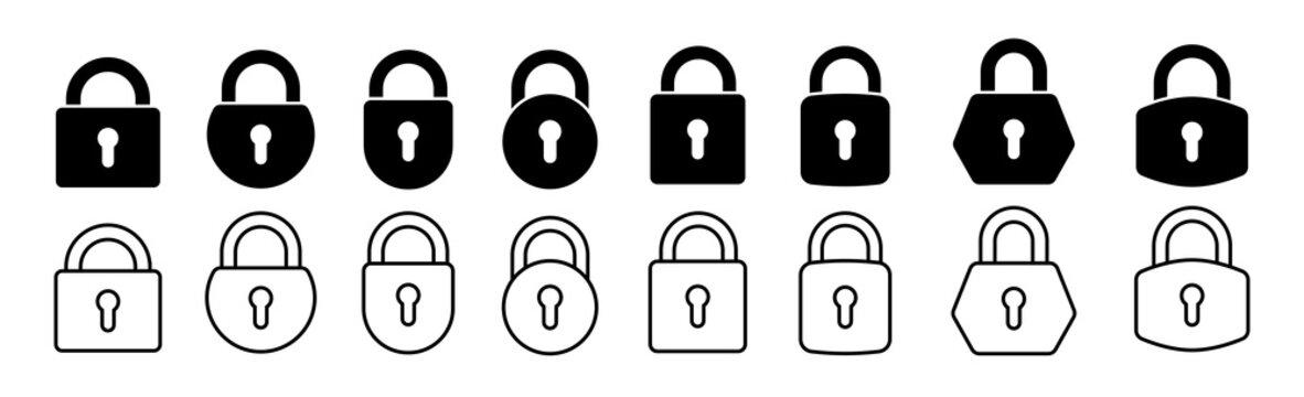 Lock flat vector icons set