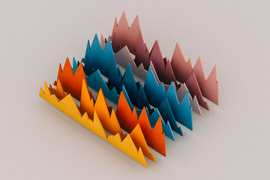 orange, pink, and blue Performance charts on grey background.