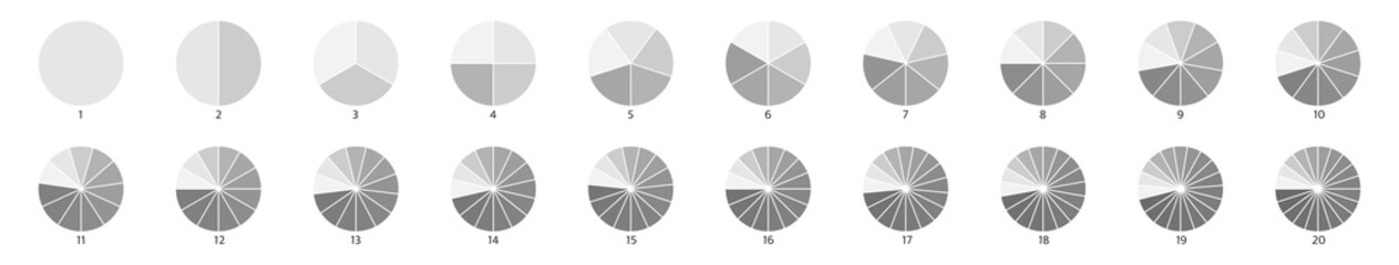 Fototapeta Segment infographic. Pie chart icons. 2,3,6,10,20 circle section graph. Wheel round diagram part symbol. Five phase, six circular cycle. Segment slice sign. Geometric element. Vector illustration obraz
