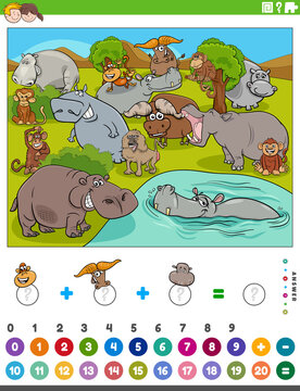 counting and adding game with cartoon wild animals